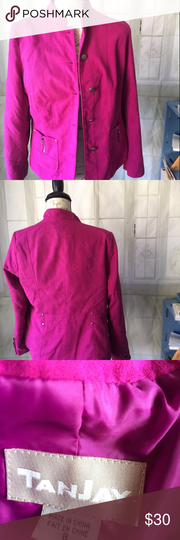 Final   TanJay Magenta Faux Suede Blazer 8 Long sleeve jacket in a very  rich color 514025f97