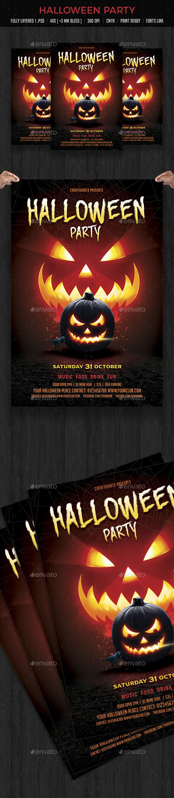 halloween party flyer events flyers - Halloween Music For Parties