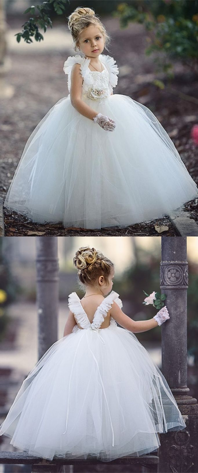 Ball gown scoop floorlength white flower girl dress with lace