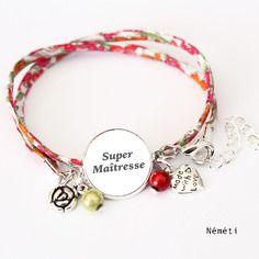 Bracelet liberty cabochon super maitresse - cadeau année scolaire enseignant