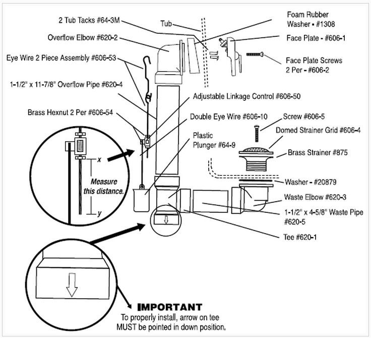 bathtub drain and plumbing diagram