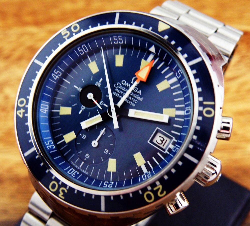 Rare Omega Seamaster 120 Chronograph Big Blue Mens Watch Nos
