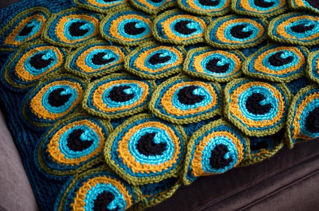 Peacock Pretty Blanket   Pfauenauge, Garn und Häkeln