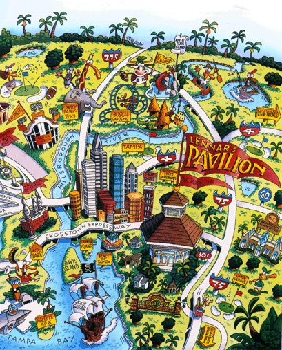 Cartoon style map illustration of tampa bay florida usa cartoon style map illustration of tampa bay florida usa gumiabroncs Image collections
