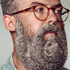 Something not quite right with this man's beard...