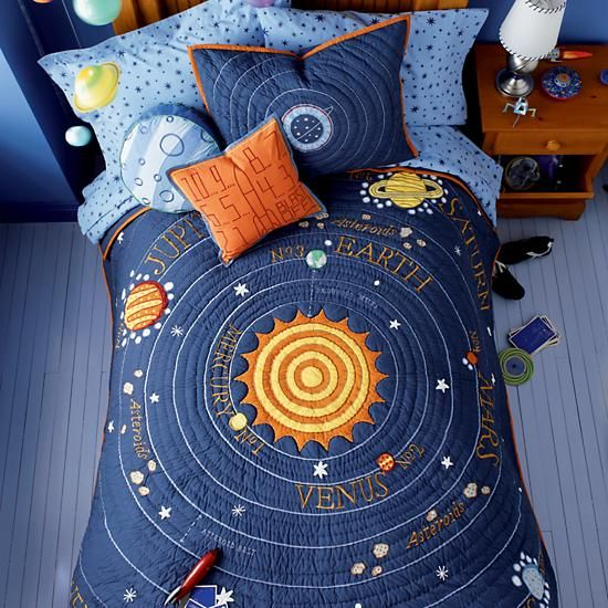Kids Blue Solar System Bedding Crate And Barrel Space Themed