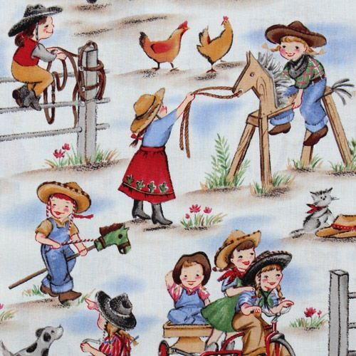 Funny Michael Miller Vintage Fabric Cowboy Girls Craft