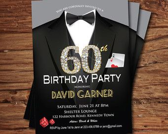 Casino 21st Birthday Invitation Adult Man Birthday Party Invitation