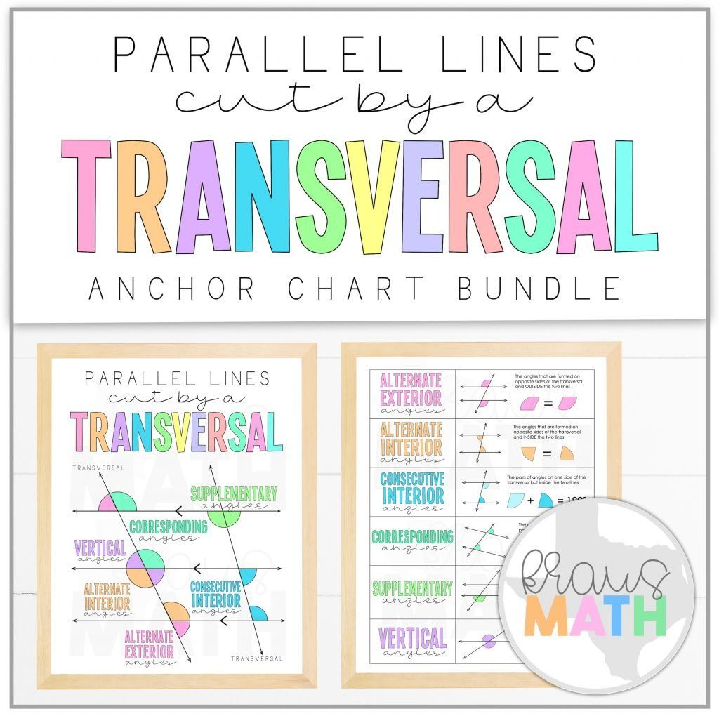 Transversals Angle Relationships Posters Math Anchor
