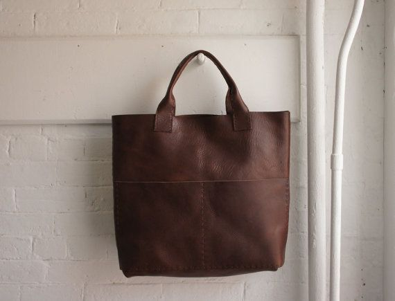 Heavy Leather Tote Havana Brown Unisex Made by stitchandtickle