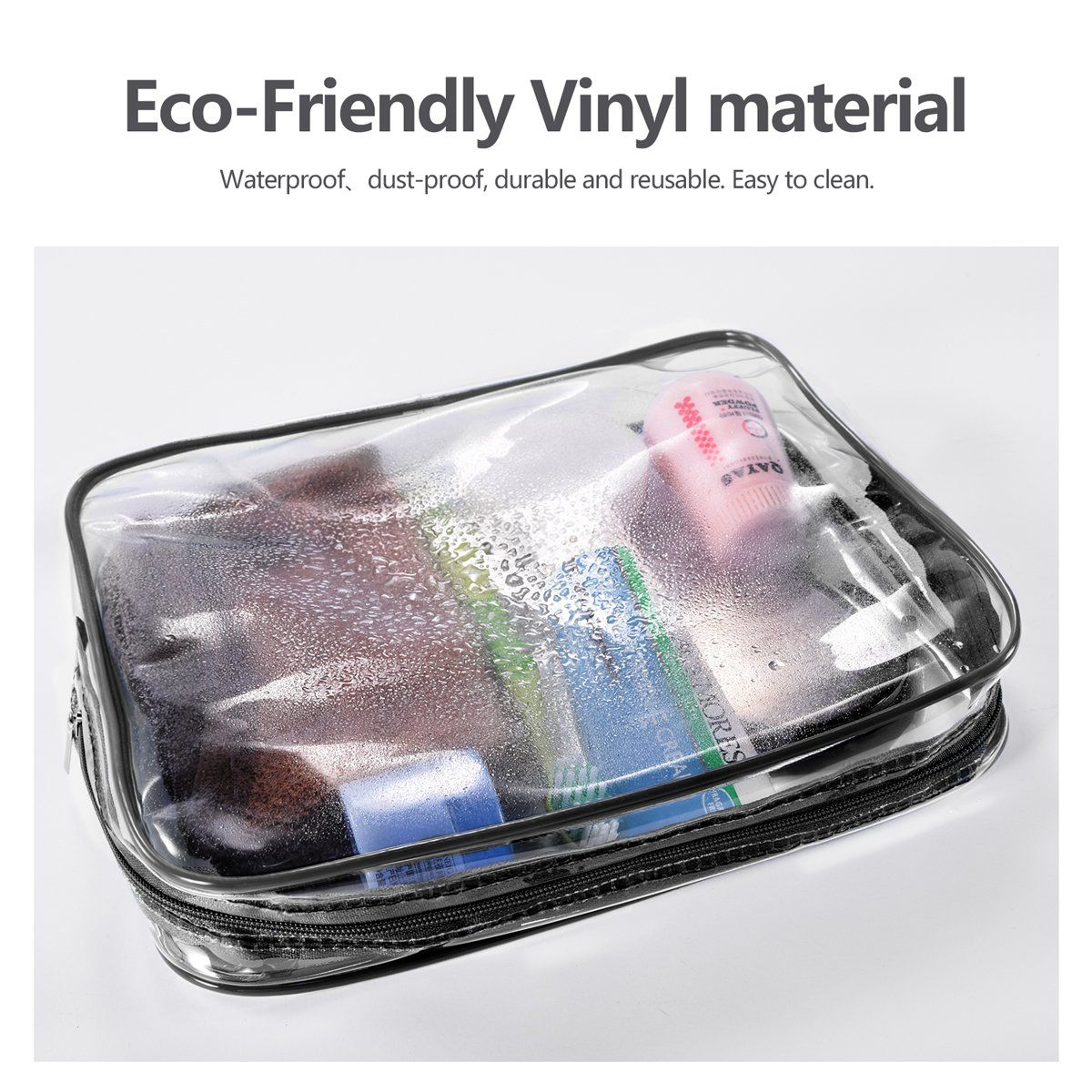 d5bffc9b824f 3Pcs Crystal Clear Cosmetic Bag TSA Air Travel Toiletry Bag Set with ...