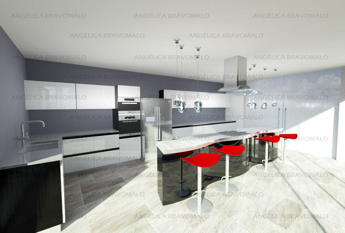 Perspectiva de mueble de cocina modular. Opción de armado en ...