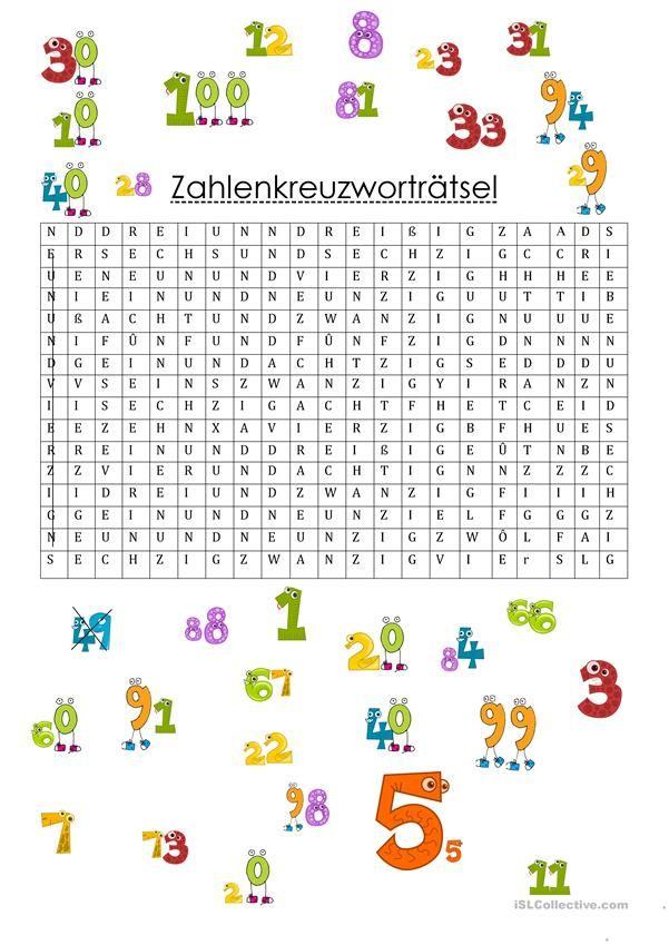 Zahalenkreuztwortträtzel   Foreign Languages   Pinterest   Schule ...
