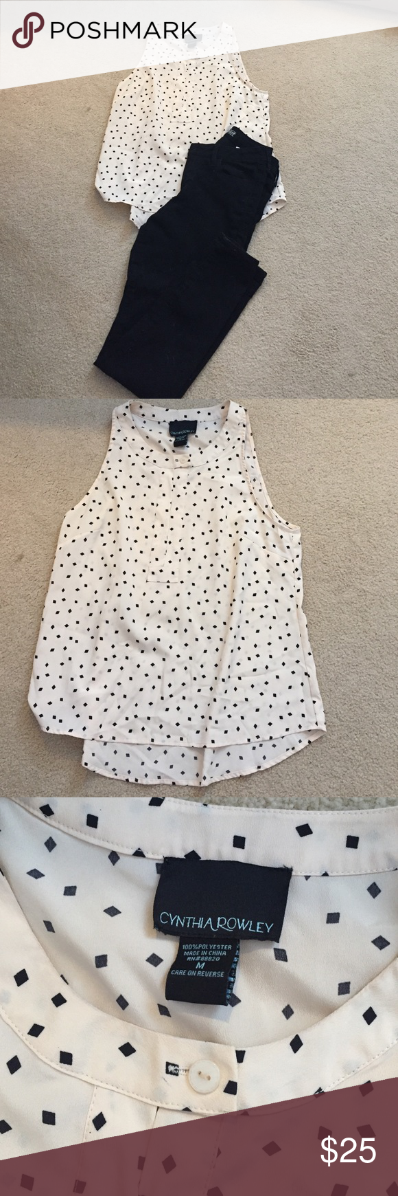 "Cream and Black Polka Dot Top Like new sleeveless top perfect for layering. Slightly longer in the back. Size medium. ""Dots"". are diamonds as opposed to circles. Cynthia Rowley Tops"