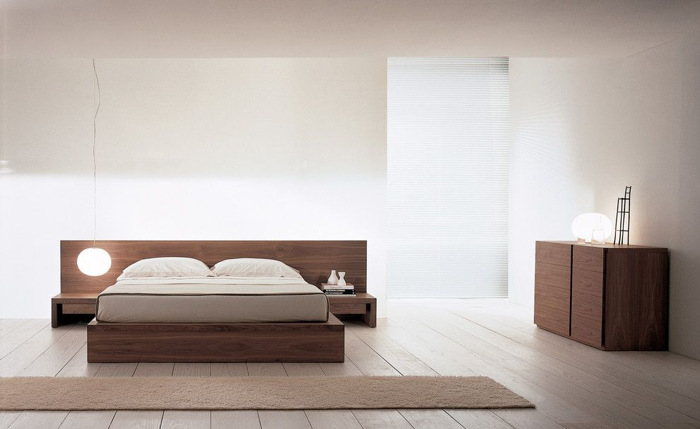 Japanese Platform Bed Bedroom Modern With Built In Chest Of Drawers Dresser  Geometric Geometry Minimal Modern