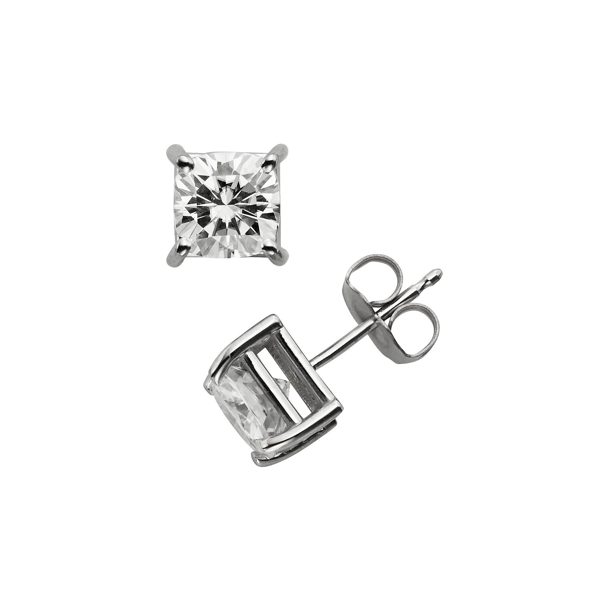itm h ladies platinum exclusive def stud ct one princess moissanite design earrings jewelers forever solid j