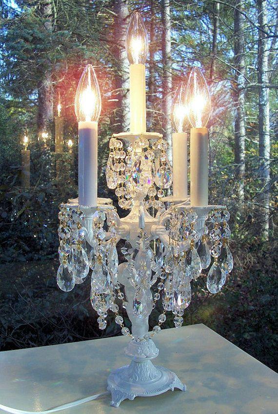 elegant vintage cherub crystal candelabra table lamp