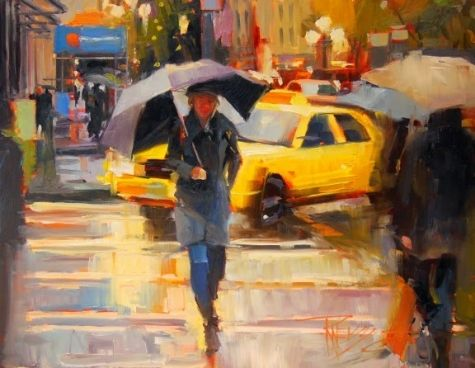 Yellow Cab Seattle cityscape by Robin Weiss, painting by artist Robin Weiss