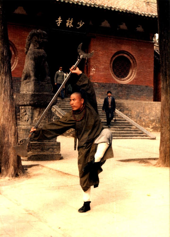 ♂ Monk practice Chinese martial art Kongfu at the front of ShaoLin Temple