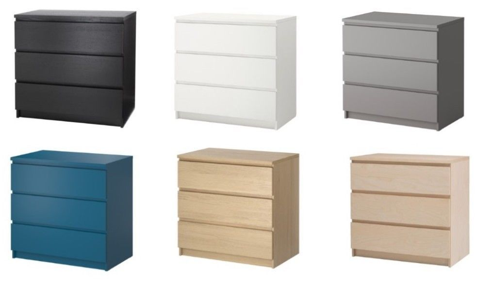 Ikea Malm 3 Drawer Chest Different Colors Ebay