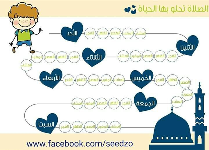 جدول لتشجيع الاطفال على الصلاة Kids Planner Muslim Kids Activities Islamic Kids Activities