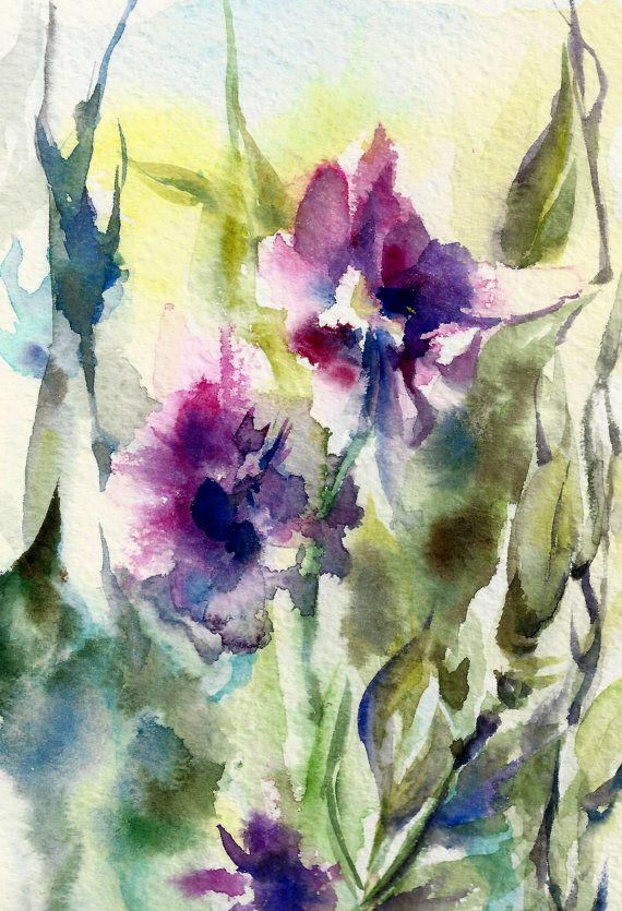 Original peinture aquarelle, les fleurs abstraites, moderne