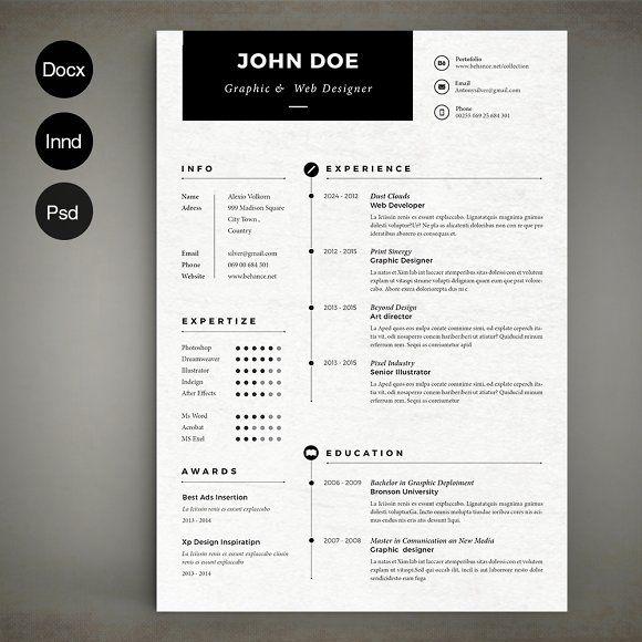 Simple Resume by Estartshop on @creativemarket PORTFOLIO - social media resume