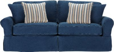 Cindy Crawford Home Beachside Blue Denim Sofa 699 99 86 5w X 41d 36h Find Affordable Sofas For Your That Will Complement The Rest Of
