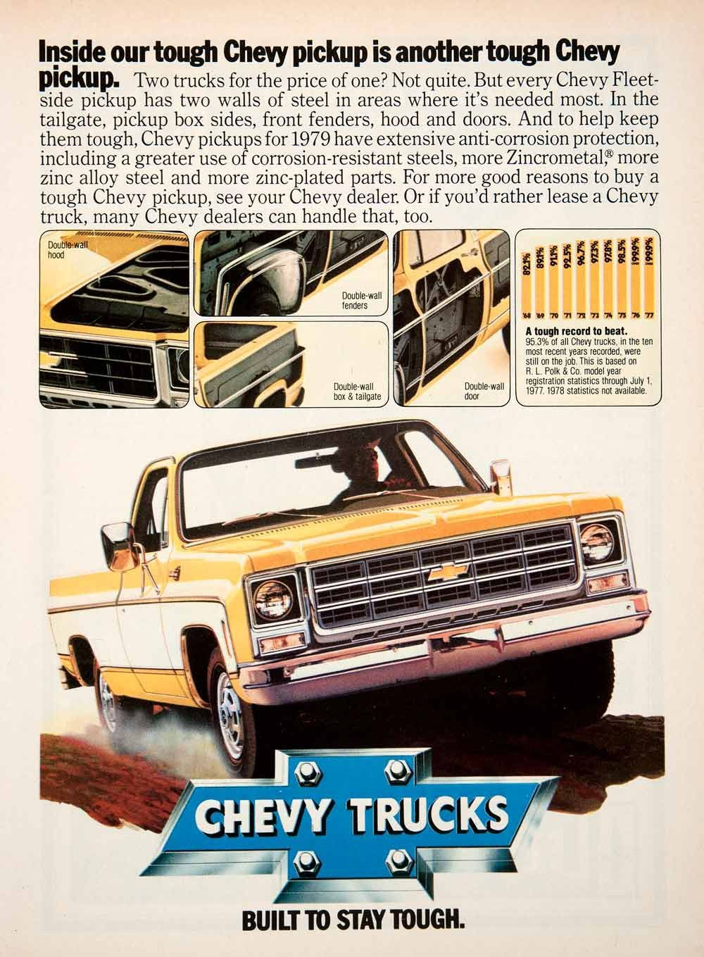 1979 Ad Chevy Trucks Pickup Tough Fleetside Zincrometal