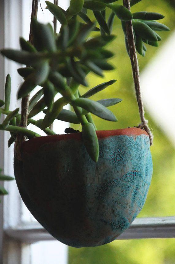 Teal Lichen Glazed Terracotta Hanging Planter by HalfLightHoney
