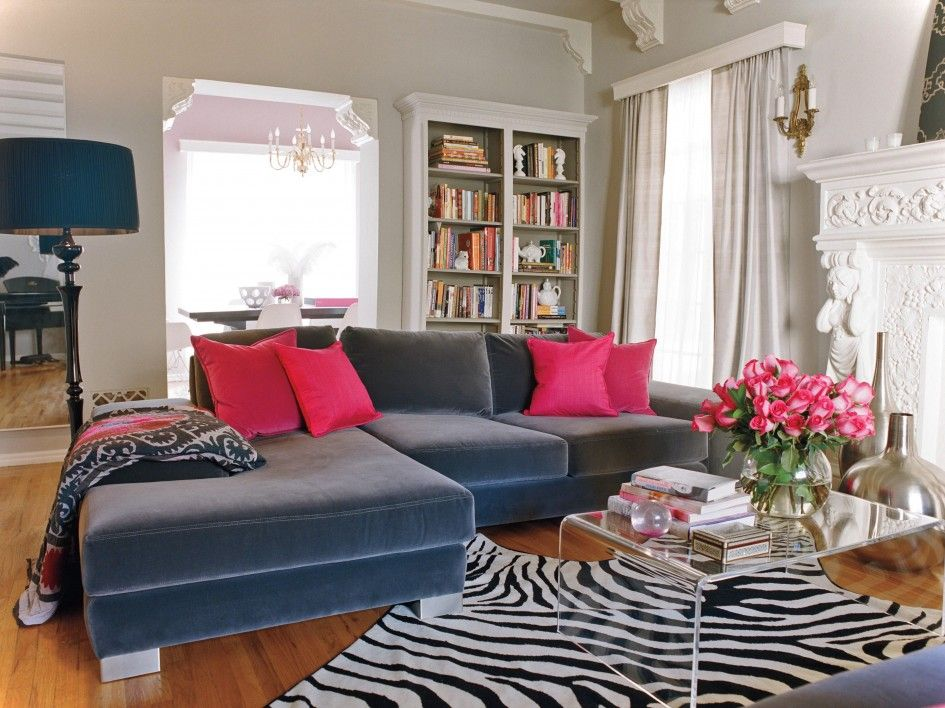 Love This Couch Love The Hot Pink Love Love It Dark Grey Couch Pink Pillows And Greige Walls Living Room Grey Living Room Sofa Romantic Living Room