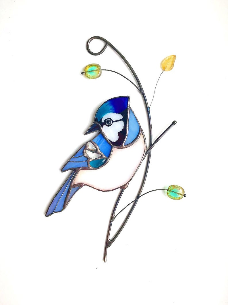 Blue Jay Stained Glass Sun Catcher for Window Hanging A Lovely Gift for Your Family