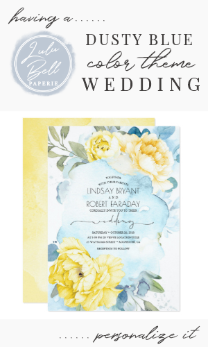 Dusty Blue and Yellow Floral Wedding Invitation Zazzle