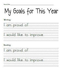 student goal setting sheets for parent teacher conferences