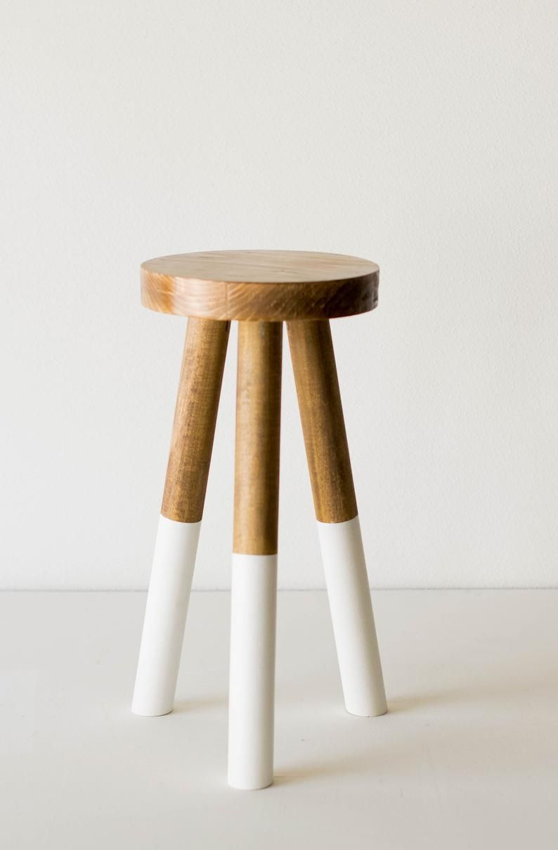 New Dipped Leg Wooden Stools White Wood Farmhouse Step Etsy In