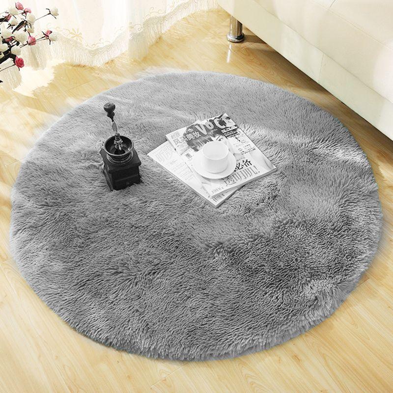 Fluffy Round Rug Carpets For Living Room Decor Faux Fur Carpet