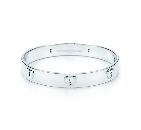 Tiffany Verrouille Bangle Étroit Argent Sterling Avec Des Diamants, Grand Tiffany & Co.