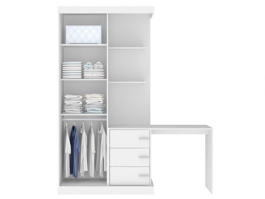 Kleiderschrank mit integriertem Schreibtisch FIKA - Weiß günstig ...