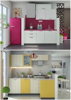 Foto Ideas Cocinas Pequenas Pero Super Funcionales Y A Todo Color - Ideas-de-cocinas-pequeas