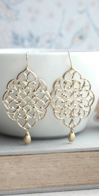 Large moroccan gold filigree chandelier dangle earrings bridesmaids large gold moroccan filigree chandelier drop dangle earrings aloadofball Image collections