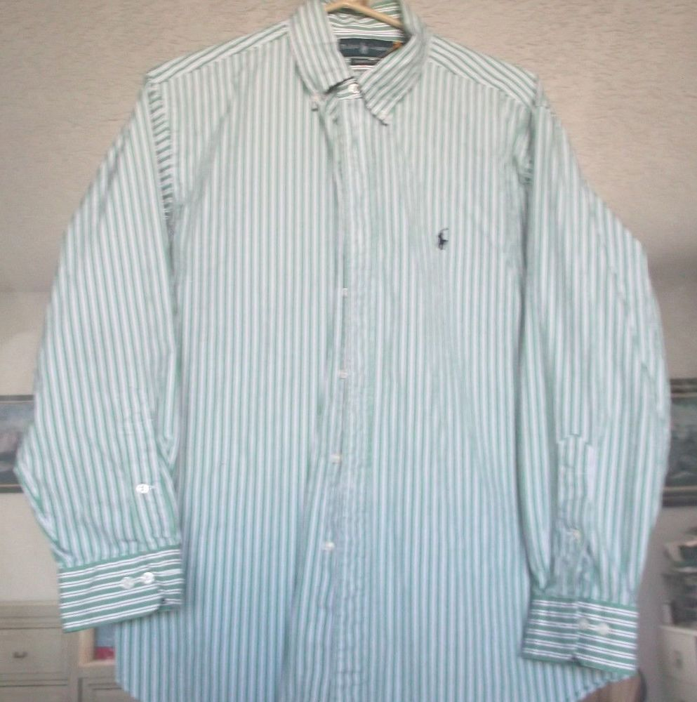 3b2f1dfbe6 Polo Ralph Lauren Mens Dress Shirt Stripe Green Cotton Long Sleeve Size 16  1/2 #RalphLauren #ButtonFront