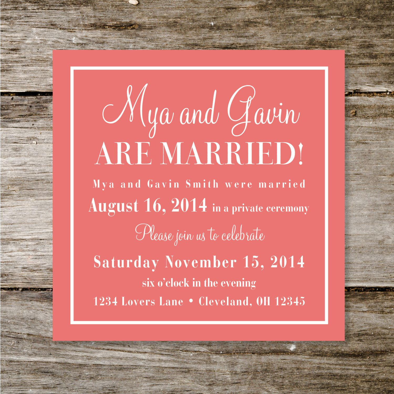 Check Yes Or No Wedding Announcement/Reception Invite