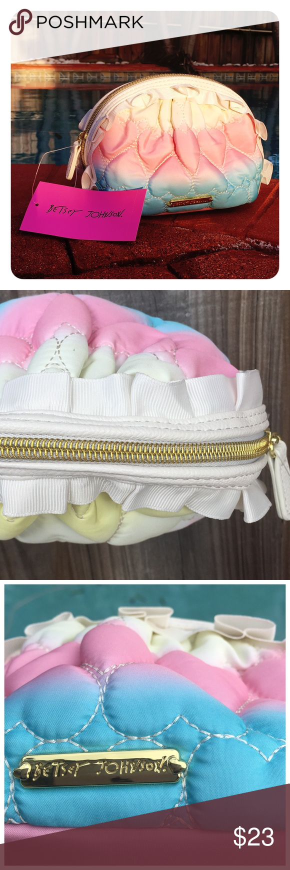 Betsey Johnson Cosmetic Bag In Rainbow Ruffles Brand New With Tags Attached Mini Ruffle Color Size 5 H X 8 L