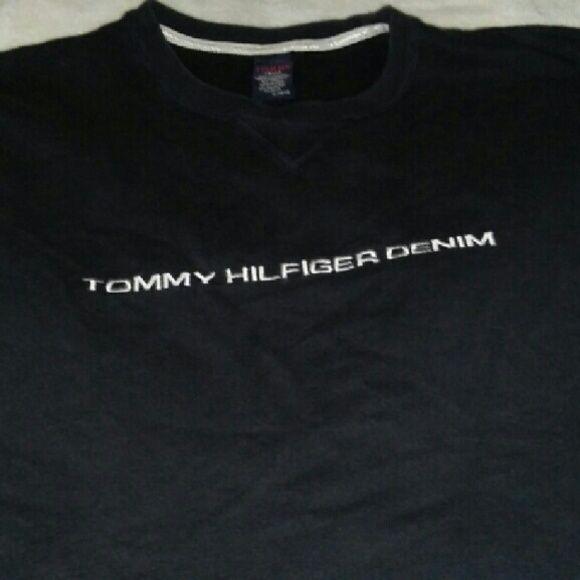 Tommy Hilfiger denium long sleeve sweat shirt XL Black sweat shirt real good condition Tommy Hilfiger Tops Sweatshirts & Hoodies