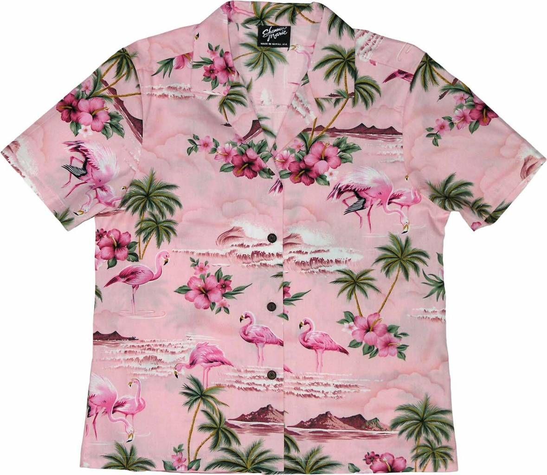 Pink Flamingo Ladies Aloha Camp Shirt in Pink, Womens Tropical ...