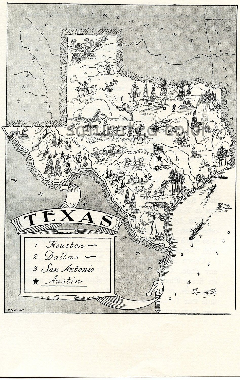 1950s Texas A Delightfully Amusing ORIGINAL by ... on texas rivers, texas border, texas weather, texas towns, texas timeline, texas counties, texas region, texas logo, texas attractions, texas cities, texas hill country, texas landforms, texas airports, texas republic, texas roads, texas mapquest, texas topography, texas a&m, texas capital, texas history,