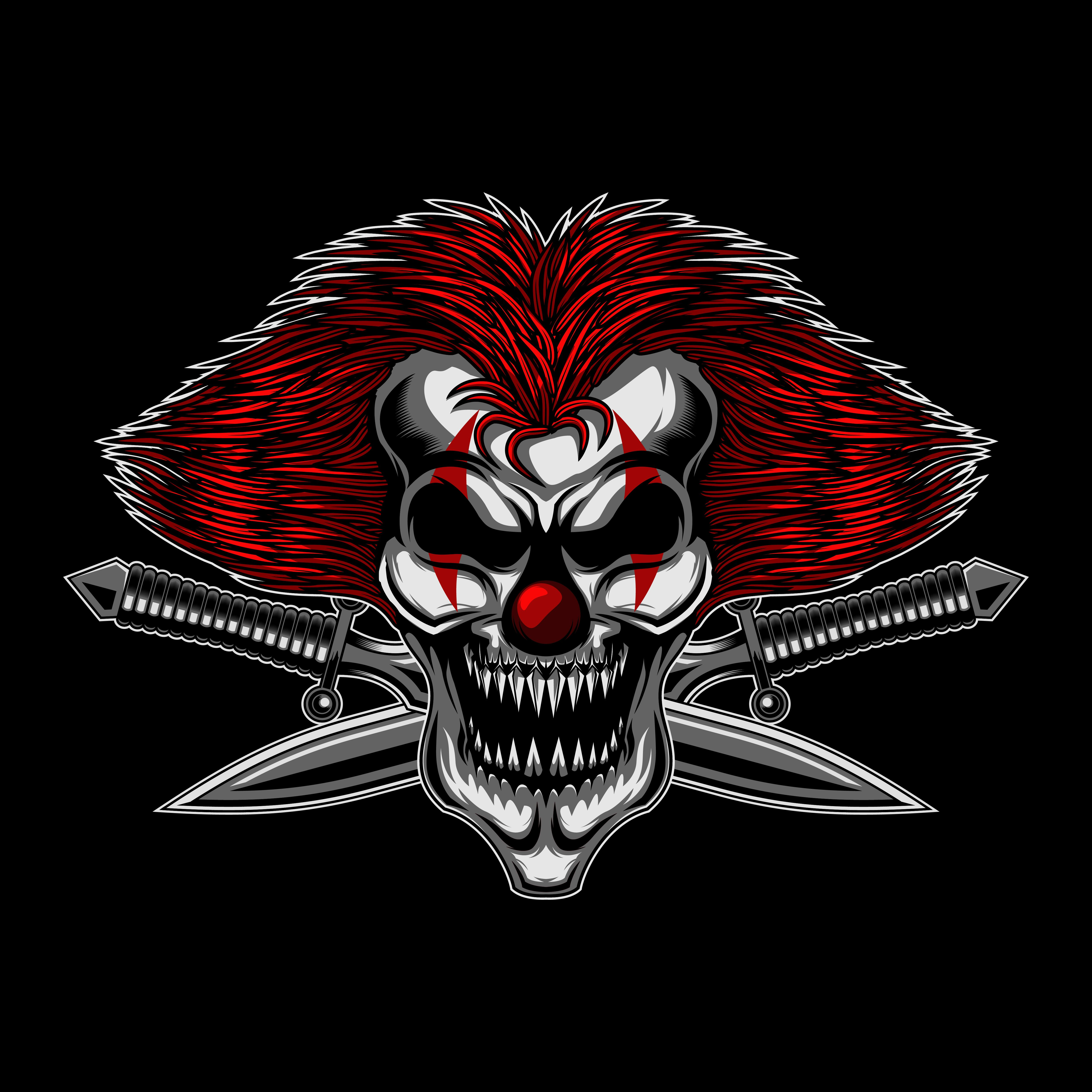 Angry Skull Clown Cross Sword Neon Backgrounds Vector Illustration Photo Logo Design