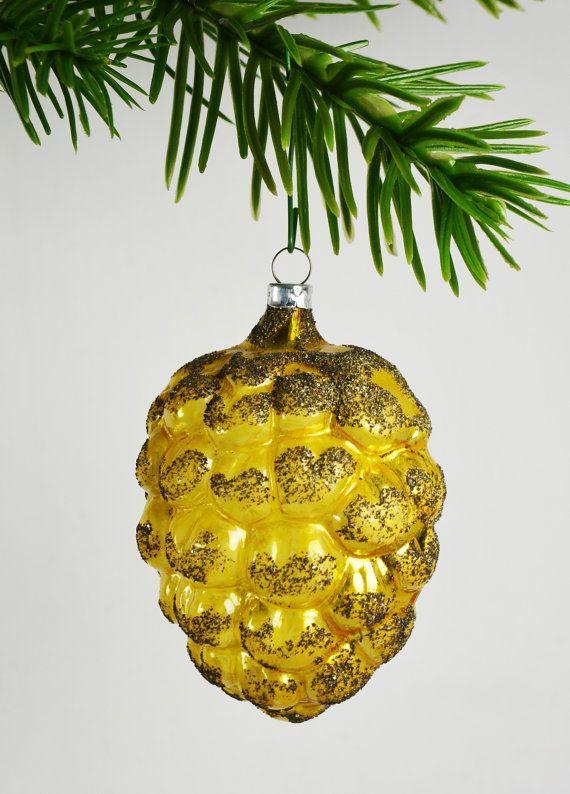 Vintage Blown Glass Christmas Ornaments | Antique Yellow Blown Glass Grapes....Berry Christmas Ornament....Mark ...