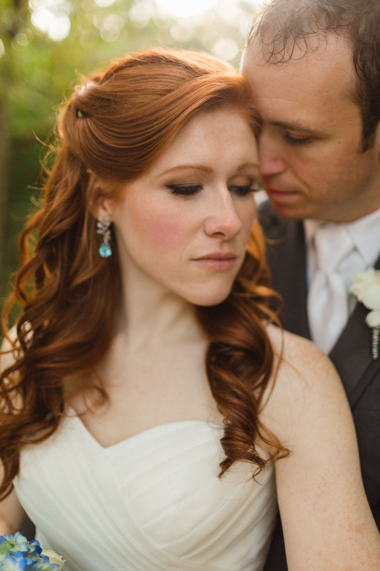 bride and groom redhead bride wedding makeup wedding hair | our