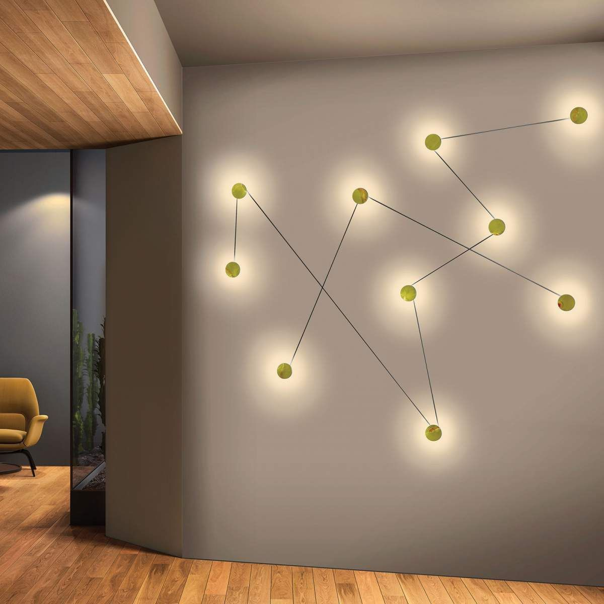 Kundalini Azou Led Wandleuchte Schwarz Dreiteilig Wandbeleuchtung Blitz Design Wandleuchte